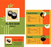 Template Of Sushi Menu And Business Card