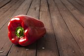 Red Bell Pepper On Brown Table