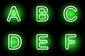 picture of neon green  - Green Neon alphabet - JPG
