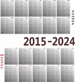 Simple 2015-2024 year vector calendars. Starts both Sunday and Monday