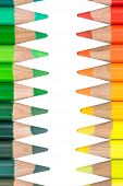 Two Opposite Rows with Colorful Crayons