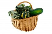 Wicker Basket Full Of Courgettes