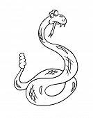 cartoon snake, contour vector illustration
