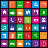 Media metro icons set