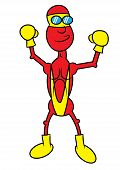 image of anorexic  - cute and funny anorexic superhero vector illustration - JPG