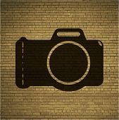 Photo camera. Flat modern web button and space for your text