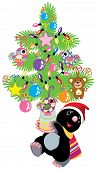 mole holding a christmas tree