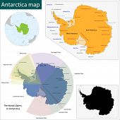 Map of the Antarctica drawn with high detail and accuracy