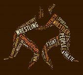 Wrestling Word Cloud With Brown Wordings