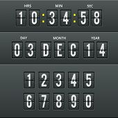 Airport characters and numbers in vector calendar clock.