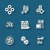 Set of black casino icons.