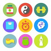 Set of Flat Fitness Icons. Vector