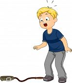 Illustration Featuring a Boy Shocked to Discover His Pet Missing
