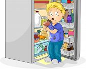 stock photo of bing  - Illustration Featuring a Little Boy Caught Eating Chocolate - JPG