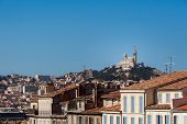 View of Marseille with Notre-Dame de la Garde basilica, southern France