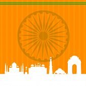 Famous monuments of India Taj Mahal, Red Fort, Qutub Minar, Lotus Temple and India Gate on Asoka Whe