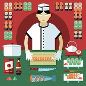 Vector illustration of sushi master and Japanese food stuff.