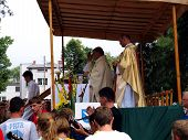 Kalety Miotek Poland - August 01 2014: Stopping And Waiting For Mass, Walking Pilgrimage From Rybnik