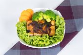 Grilled Salmon With Teriyaki Sauce And Steam Broccoli