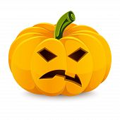 Halloween pumpkin. Angry Jack-O'-Lantern on a white background