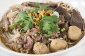 pic of tripe  - Combination Beef Noodle with beef ball beef tripe beef liver BBQ Duck Bean Sprouts Green Lettuces Green Onions Cilantro spicy sour minced jalapeno and Dried Garlic - JPG