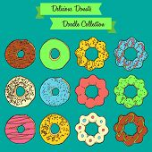 Delicious Donuts Doodle Collection