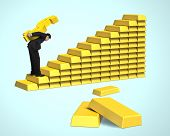 Carrying Money On Gold Stairs