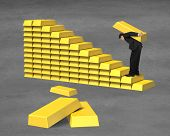 Businessman Carrying Bullion On Gold In Stairs Stacking