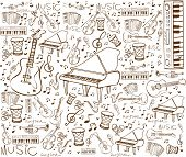 foto of bongo  - Vector illustration of music instruments in doodle style - JPG