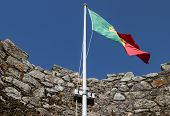 Fluttering flag over the tower of Moors in the citadella