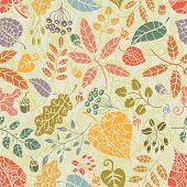 Seamless pattern.Autumn leaves and berryes.