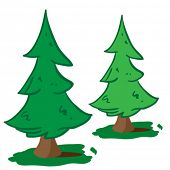 cartoon illustration of two christmas trees isolated on white