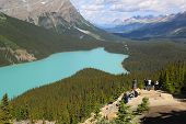 Tourists at  Peyto Lake in Banff National Park, Alberta, Canada