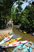 Punts and pedalos on river, Oxford.