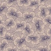 Seamless Purple Pansy Pattern On Beige Background.