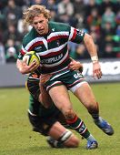 Northampton, Uk - February 7Th: Saints Tackle Billy Twelvetrees During Saints Vs Tigers Lv Cup Match