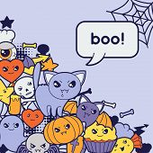 foto of kawaii  - Halloween kawaii greeting card with cute doodles - JPG