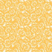Seamless orange pattern with maple leaves. Vector illustration.