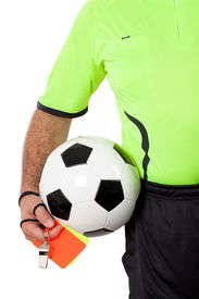 picture of umpire  - Referee with ball whistle and cards before the match - JPG