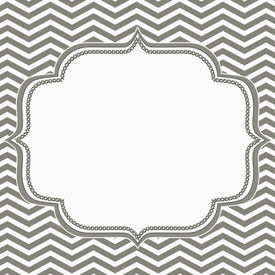foto of chevron  - Gray and White Chevron Frame with Embroidery Background with center for copy - JPG