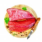 Meat beef with parsley on round board top
