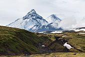 Beauty volcanoes of Kamchatka: Kamen, Kliuchevskoi, Bezymianny