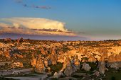 pic of goreme  - View of sunset Cappadocia valley in spring - JPG