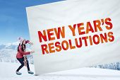 Student With A Resolutions Banner
