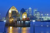 Thames Barrier and Canary Wharf - London