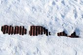 stock photo of sewage  - Sewage pit in the snow winter season - JPG
