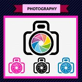 Photo camera icon, aperture color lens design