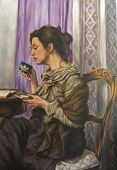 Oil On Canvas Of A Woman Drinking While Reading His Book