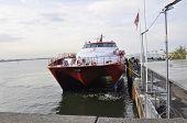 HELSINKI-AUGUST 23: Ferryboat anchored at Helsinki in Finland on august 23