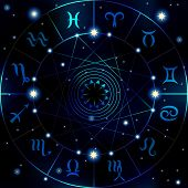 pic of scorpio  - Circle with signs of zodiac on dark blue blur background - JPG
